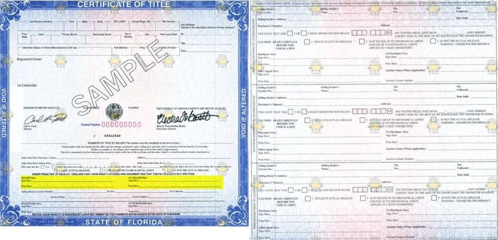 Where do you sign your Florida vehicle title when donating a car.
