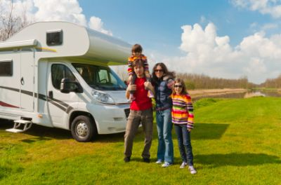 Family camping in an RV